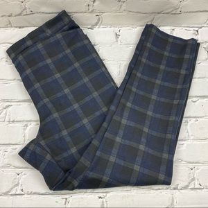 Jules and Leopold high waist plaid pull on straight leg pants with stretch